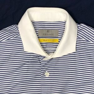 Canali Exclusive Spread Collar Striped Dress Shirt
